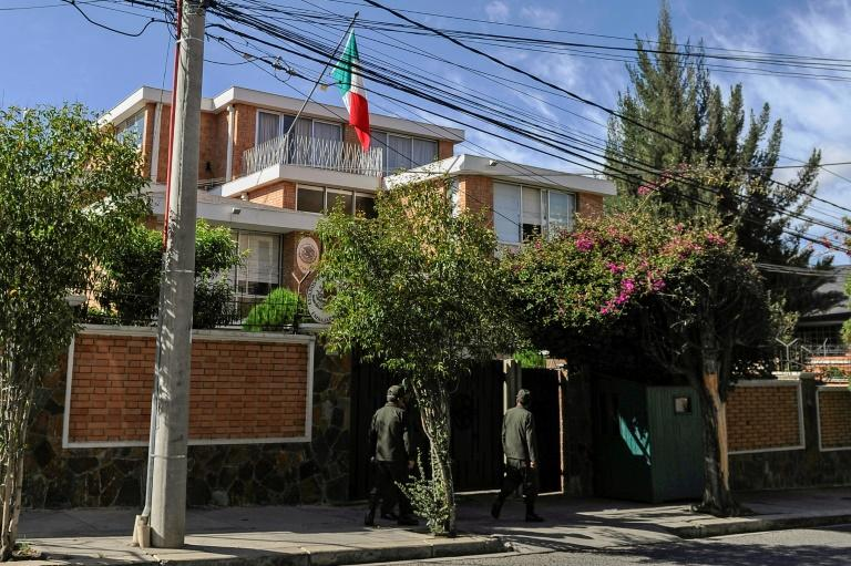 The Mexican embassy in La Paz became the center of the diplomatic row after it sheltered nine or more officials from ex-president Evo Morales's former government (AFP Photo/JORGE BERNAL)