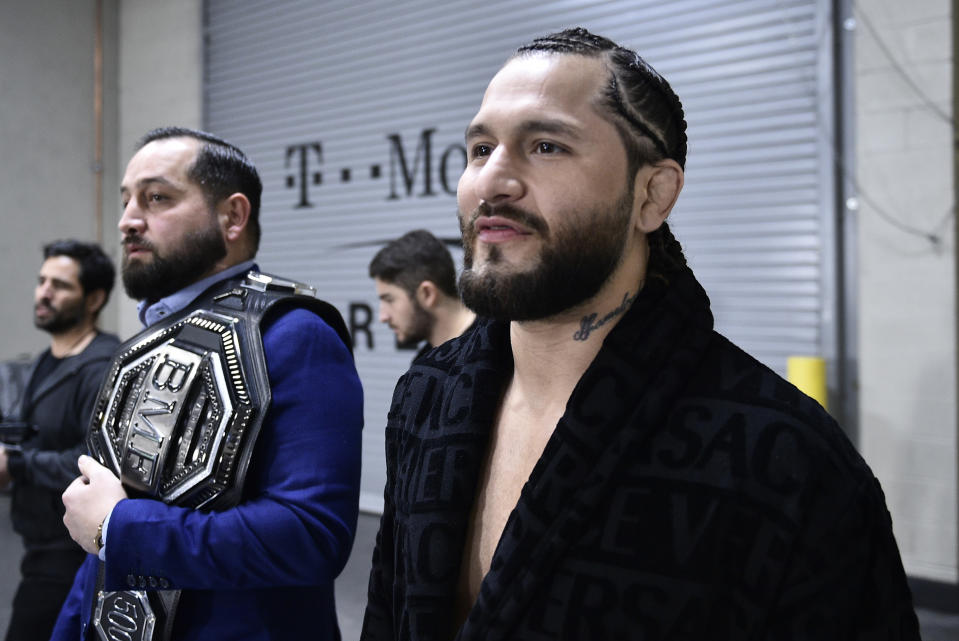 LAS VEGAS, NEVADA - JANUARY 18: Jorge Masvidal arrives backstage during the UFC 246 event at T-Mobile Arena on January 18, 2020 in Las Vegas, Nevada. (Photo by Chris Unger/Zuffa LLC via Getty Images)