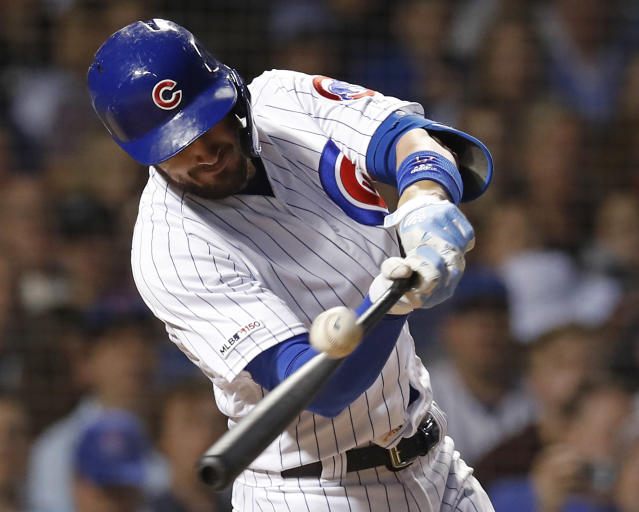 Chicago Cubs' Kris Bryant hits an RBI-single against the Atlanta Braves during the fifth inning of a baseball game Monday, June 24, 2019, in Chicago. (AP Photo/Jim Young)