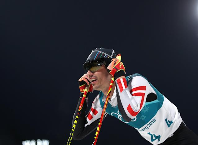 Nordic Combined Events - Pyeongchang 2018 Winter Olympics - Men's Individual 10km Final - Alpensia Cross-Country Skiing Centre - Pyeongchang, South Korea - February 14, 2018. Lukas Klapfer of Austria reacts. REUTERS/Carlos Barria