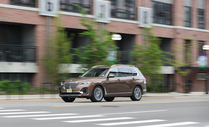 """<p>Though it may have taken BMW forever join the full-size family hauler market, the all-new X7 may be soft, but it sure is quick and tranquil. Read the full story <a href=""""https://www.caranddriver.com/reviews/a28625540/2019-bmw-x7-test/"""" rel=""""nofollow noopener"""" target=""""_blank"""" data-ylk=""""slk:here"""" class=""""link rapid-noclick-resp"""">here</a>.</p>"""