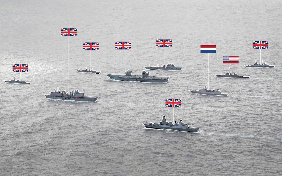 HMS Queen Elizabeth (fourth from left) joined by supporting warships as the Carrier Strike Group assembles in the North Sea