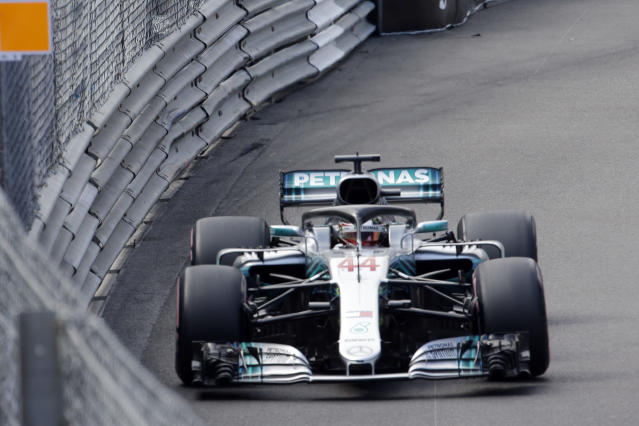 Mercedes driver Lewis Hamilton of Britain steers his car during the second practice session in Monaco, Thursday, May 24, 2018. The Formula one race will be held on Sunday. (AP Photo/Luca Bruno)