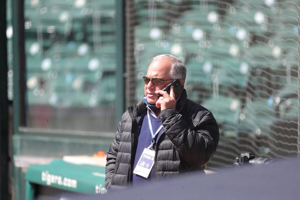 Tigers GM Al Avila watches during practice on Wednesday, March 31, 2021, at Comerica Park, a day before Opening Day against the Cleveland Indians.