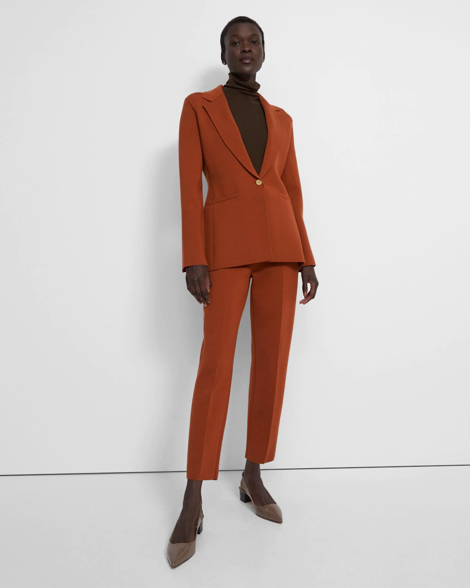 """<h2>Fall Wedding-Guest Pant Suit Outfits</h2><br>Want to take your fancy pants look to the next level? Get yourself a matching blazer for a standout coordinated wedding-guest look.<br><br><strong>Theory</strong> Etiennette Blazer in Empire Wool, $, available at <a href=""""https://go.skimresources.com/?id=30283X879131&url=https%3A%2F%2Fwww.theory.com%2Fetiennette-e%2FL0811758_QIS.html"""" rel=""""nofollow noopener"""" target=""""_blank"""" data-ylk=""""slk:Theory"""" class=""""link rapid-noclick-resp"""">Theory</a><br><br><strong>Theory</strong> Treeca Full-Length Pull-On Pant in Empire Wool, $, available at <a href=""""https://go.skimresources.com/?id=30283X879131&url=https%3A%2F%2Fwww.theory.com%2Ftreeca-pull-on-e%2FL0811759_QIS.html"""" rel=""""nofollow noopener"""" target=""""_blank"""" data-ylk=""""slk:Theory"""" class=""""link rapid-noclick-resp"""">Theory</a>"""