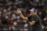 UCLA coach Chip Kelly gestures during the second half of the team's NCAA college football game against Arizona on Saturday, Oct. 9, 2021, in Tucson, Ariz. (AP Photo/Chris Coduto)