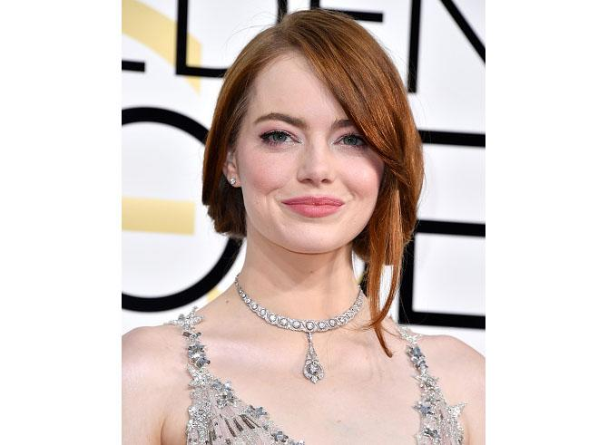 Emma Stone at the Golden Globes in a vintage Tiffany necklace. Photo: Steve Granitz/WireImage