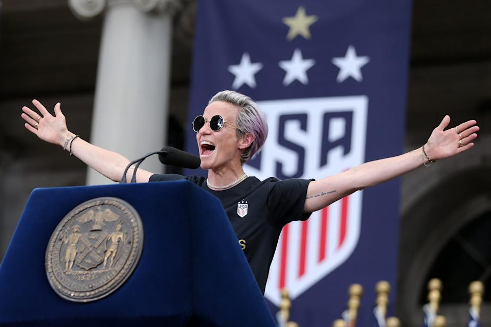 Megan Rapinoe speaks at New York City Hall after the ticker-tape parade for the USWNT's celebration for winning the 2019 Women's World Cup.
