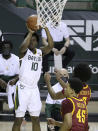 Baylor guard Adam Flagler (10) shoots a 3-point shot against Iowa State in the second half of an NCAA college basketball game, Tuesday, Feb. 23, 2021, in Waco, Texas. (AP Photo/Jerry Larson)