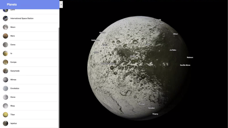 The feature includes planets, moons and dwarf planets