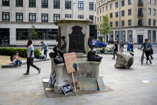 A view of the Edward Colston statue plinth in Bristol after it was toppled by protesters. (Getty)