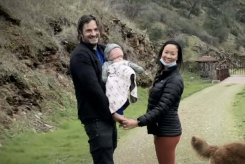John Gerrish, 45, his partner Ellen Chung, 30, and their one-year-old daughter Miju are pictured.