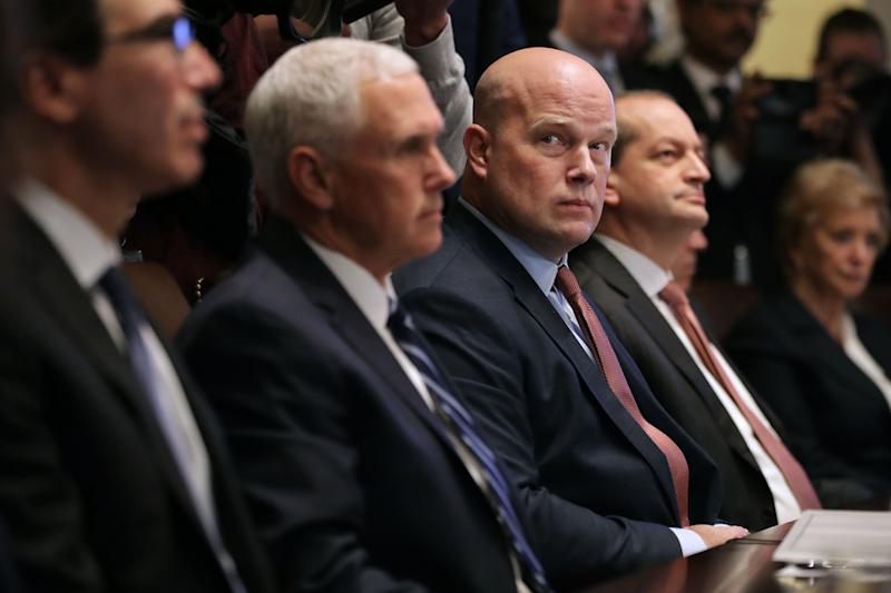 Treasury Secretary Steven Mnuchin, Vice President Mike Pence, acting U.S. Attorney General Matthew Whitaker, Labor Secretary Alex Acosta and other members of President Donald Trump's cabinet meet at the White House January 02, 2019, in Washington, D.C. (Chip Somodevilla via Getty Images)