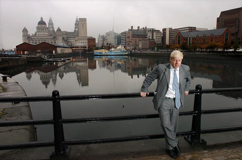 Johnson - then editor of The Spectator - on a visit to Liverpool's Albert Docks after controversial comments he made about Hillsborough in 2004.