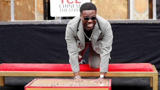 PHOTO: Actor Kevin Hart places his handprints in cement at a ceremony in the forecourt of the TCL Chinese theatre in Los Angeles, Calif., Dec. 10, 2019. (Mario Anzuoni/Reuters)