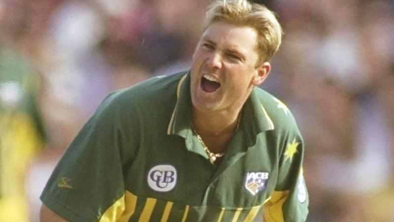 Shane Warne is pictured playing in a 1996 one-day international match.