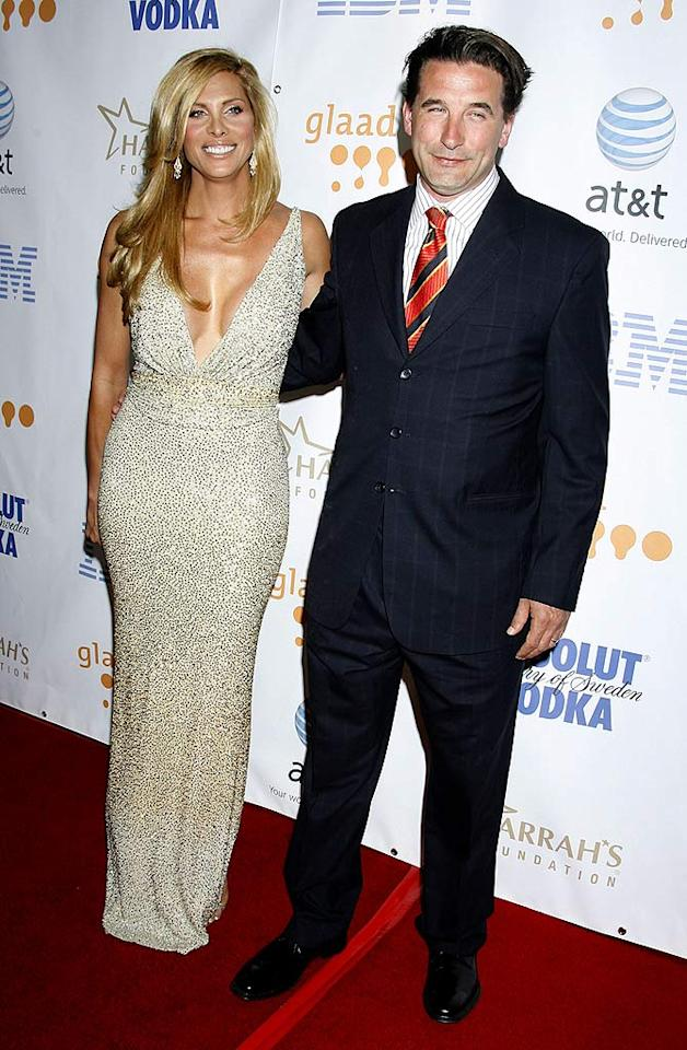 """Billy Baldwin poses with his """"Dirty Sexy Money"""" on-screen love interest, Candis Cayne. Their storyline was considered a breakthrough for the LGBT community as Candis is a transgender in real life portraying a transgender character on TV. Jordan Strauss/<a href=""""http://www.wireimage.com"""" target=""""new"""">WireImage.com</a> - April 26, 2008"""
