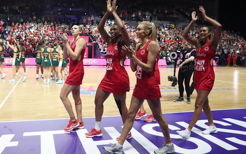 England players celebrate beating South Africa to win the bronze medal - AP