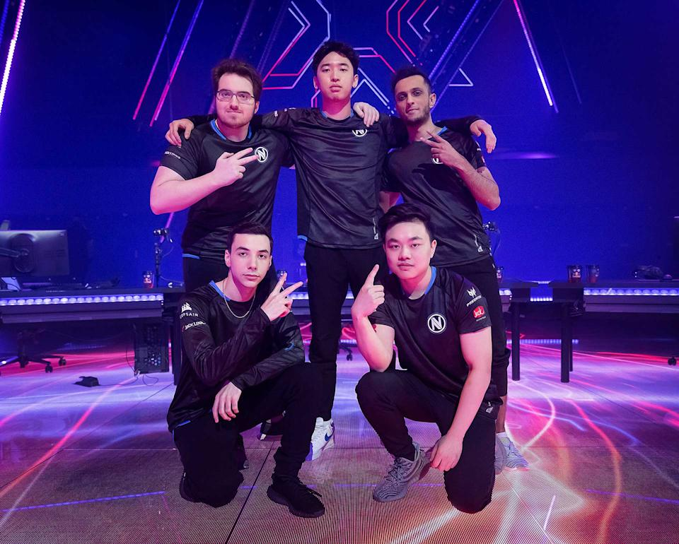 Team Envy poses after a victory at the VALORANT Champions Tour 2021: Stage 3 Masters in Berlin, Germany. (Photo: Colin Young-Wolff/Riot Games via Getty Images)