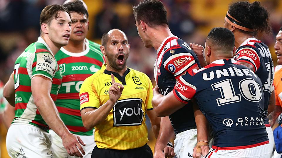 Joseph Manu, pictured here taking exception to Latrell Mitchell's high shot.