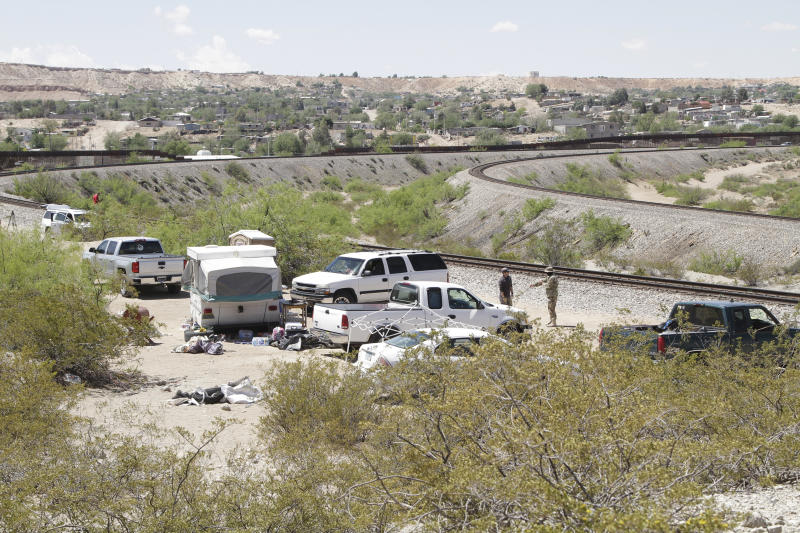The camp of the United Constitutional Patriots, a citizen immigration patrol, sits near the U.S-Mexico border Tuesday, April 23, 2019, in Sunland Park, N.M. Members of the camp were evicted by police hours later, after a complaint that they had been trespassing on private property for around two months. (AP Photo/Cedar Attanasio)