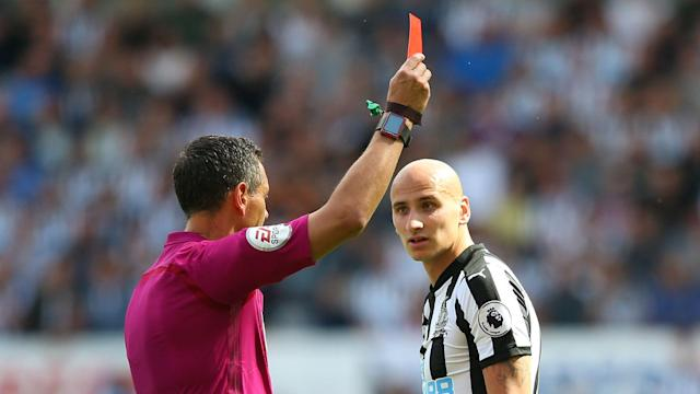 Jonjo Shelvey's red card proved costly as Dele Alli and Ben Davies helped Tottenham beat Newcastle United 2-0.