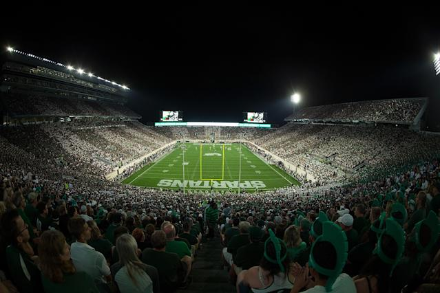 """EAST LANSING, MI – SEPTEMBER 23: A general view of Spartan Stadium during the game between the <a class=""""link rapid-noclick-resp"""" href=""""/ncaab/teams/nbf/"""" data-ylk=""""slk:Notre Dame Fighting Irish"""">Notre Dame Fighting Irish</a> and the <a class=""""link rapid-noclick-resp"""" href=""""/ncaab/teams/may/"""" data-ylk=""""slk:Michigan State Spartans"""">Michigan State Spartans</a> on September 23, 2017 in East Lansing, Michigan. (Photo by Leon Halip/Getty Images)"""