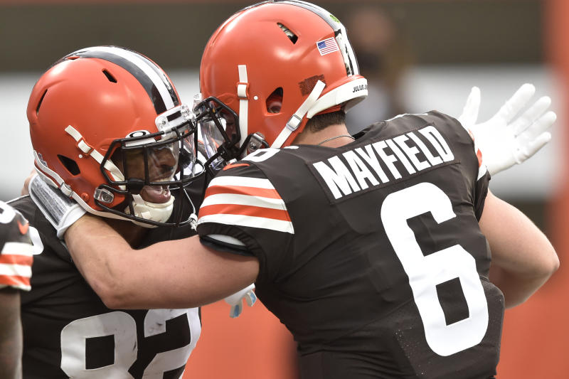 Cleveland Browns wide receiver Rashard Higgins (82) and quarterback Baker Mayfield celebrate after a 15-yard touchdown. (AP Photo/David Richard)