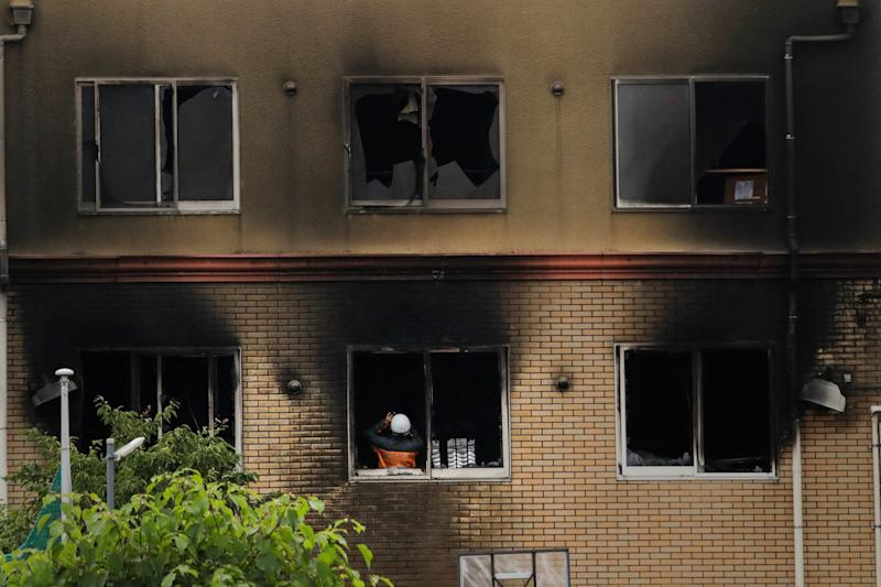 Kyoto Animation studio in Japan after an arson attack on July 19, 2019.