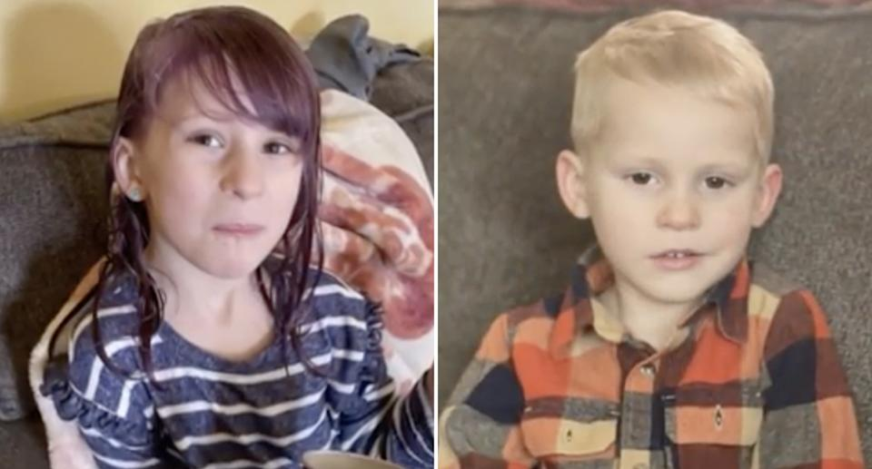 Emily Price, 5, and her brother Theodore Price, 3, are pictured.