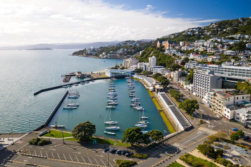 WELLINGTON, NEW ZEALAND - APRIL 21: Oriental Parade and Freyberg Marina with empty streets on April 21, 2020 in Wellington, New Zealand. New Zealand will partially relax nationwide lockdown restrictions in a week as the decline in new coronavirus (COVID-19) cases indicates its strategy of elimination is working. (Photo by Mark Tantrum/Getty Images)