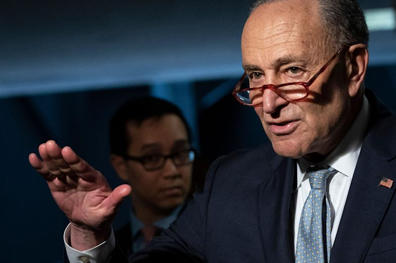 Senate Minority Leader Chuck Schumer and other Democrats rolled out their hazard pay plan on Tuesday. (Photo: Drew Angerer via Getty Images)