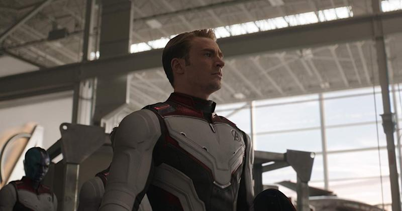 Chris Evans rocking a Time Suit in Avengers: Endgame