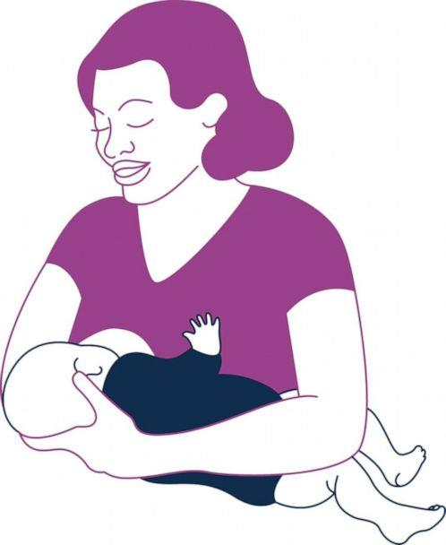 PHOTO: Cross-cradle hold: This hold is an excellent starting point for new moms and a great way to support your baby's latch. (USDA)