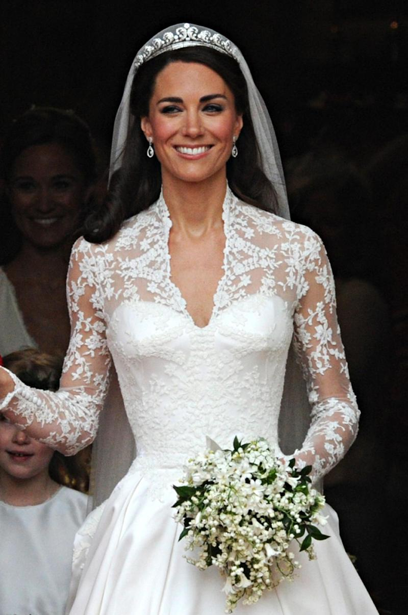 Kate Middleton wears the Cartier Halo Tiara on her wedding day in 2011 (AFP/Getty Images)