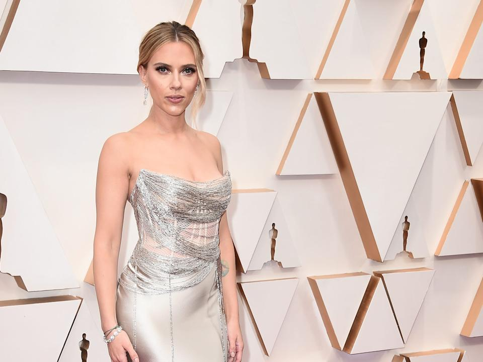 Scarlett Johansson arrives at the Oscars.