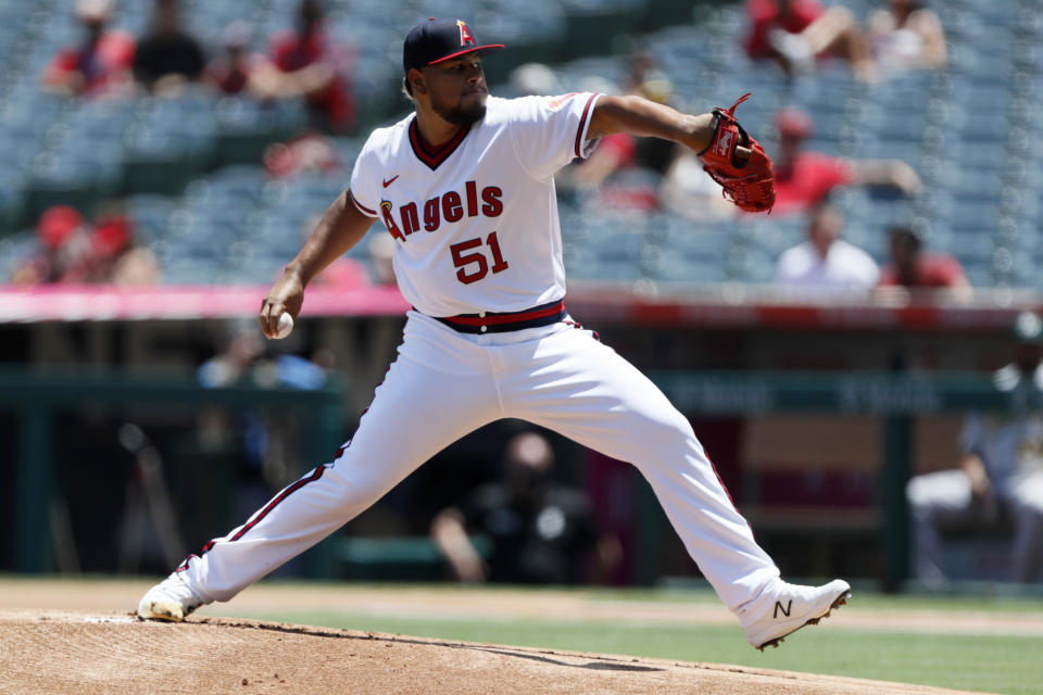 Los Angeles Angels starting pitcher Jaime Barria throws to an Oakland Athletics batter during the first inning of a baseball game in Anaheim, Calif., Saturday, July 31, 2021. (AP Photo/Alex Gallardo)