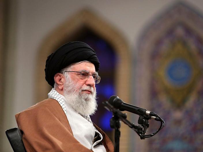 In this picture released by the official website of the office of the Iranian supreme leader, Supreme Leader Ayatollah Ali Khamenei attends a meeting with thousands of students in Tehran, Iran, Sunday, Nov. 3, 2019. Khamenei said his country has outmaneuvered the United States in the four decades since the 1979 Islamic Revolution. (Office of the Iranian Supreme Leader via AP)