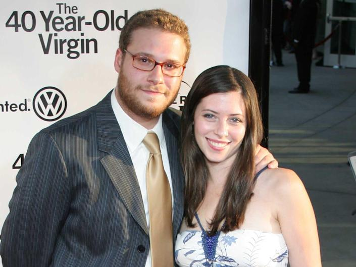 """Seth Rogen and Lauren Miller attend """"The 40 Year Old Virgin"""" World Premiere at Arcllight Cinemas on August 11, 2005 in Hollywood, CA."""