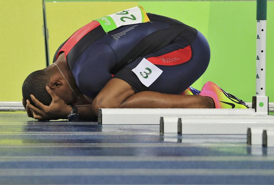 French hurdler Wilhem Belocian was distraught after his false start. (Getty Images)