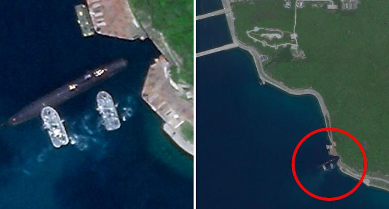 A submarine seen exiting the rarely seen underground network at China's Yulin Naval Base in Hainan. Source: Planet Labs