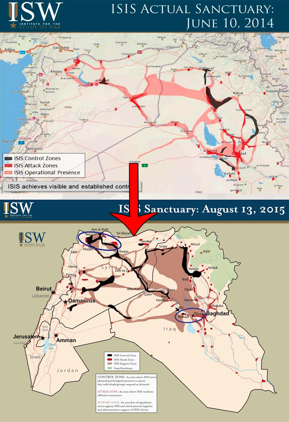 ISIS 2014 to 2015