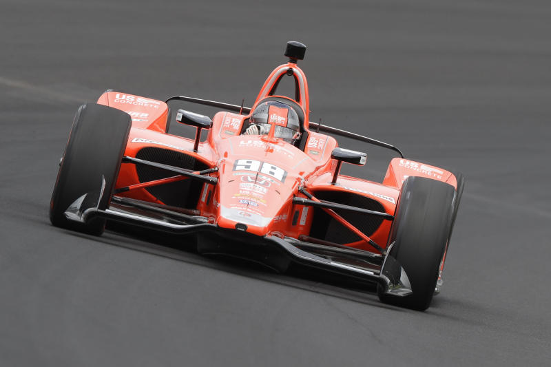 Marco Andretti drives through turn one during practice for the Indianapolis 500 IndyCar auto race at Indianapolis Motor Speedway, Friday, May 17, 2019 in Indianapolis. (AP Photo/Darron Cummings)