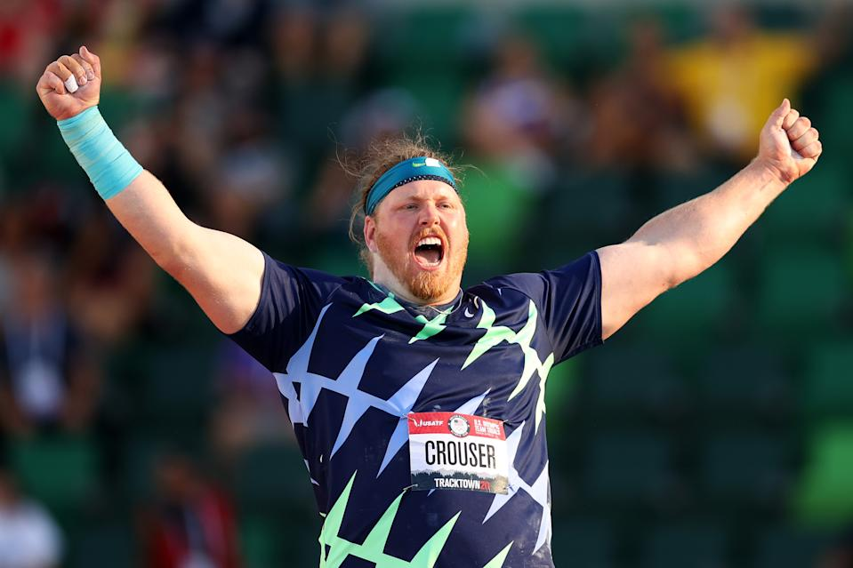 EUGENE, OREGON - JUNE 18: Ryan Crouser competes in the Men's Shot Put final, throwing for a world record of 23.37 meters during day one of the 2020 U.S. Olympic Track & Field Team Trials at Hayward Field on June 18, 2021 in Eugene, Oregon. (Patrick Smith/Getty Images)