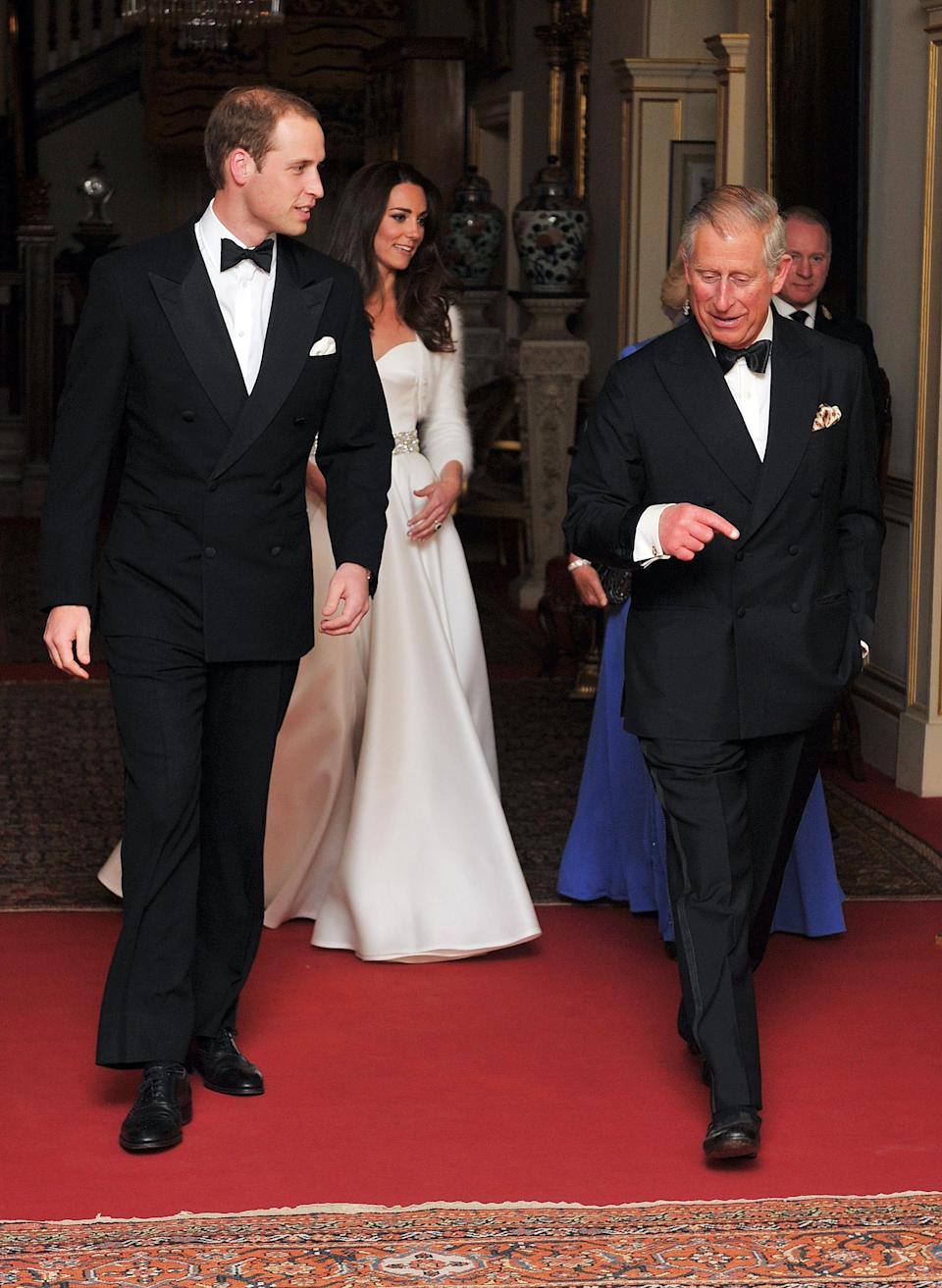 <p>Charles, William and Kate at the evening reception of their wedding in 2011 (PA) </p>