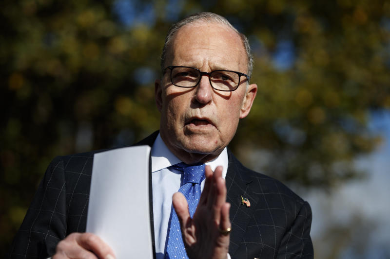 White House chief economic adviser Larry Kudlow talks with reporters outside the White House, Friday, Nov. 1, 2019, in Washington. (AP Photo/Evan Vucci)