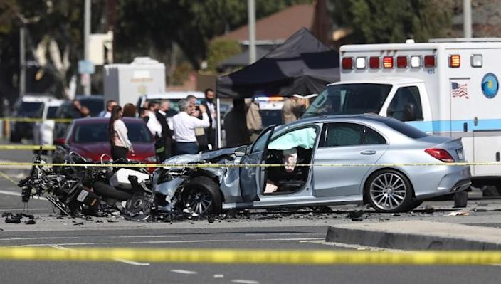 LAKEWOOD, CA FEBRUARY 25, 2021 - An investigation is underway after a Los Angeles County Sheriff's Department motorcycle deputy was killed Thursday, February 25, 2021, in a crash in Lakewood.(Gary Coronado / Los Angeles Times)