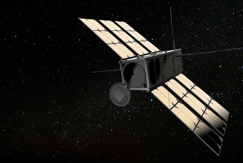 Mockup of an OroraTech Earth imaging satellite in space.