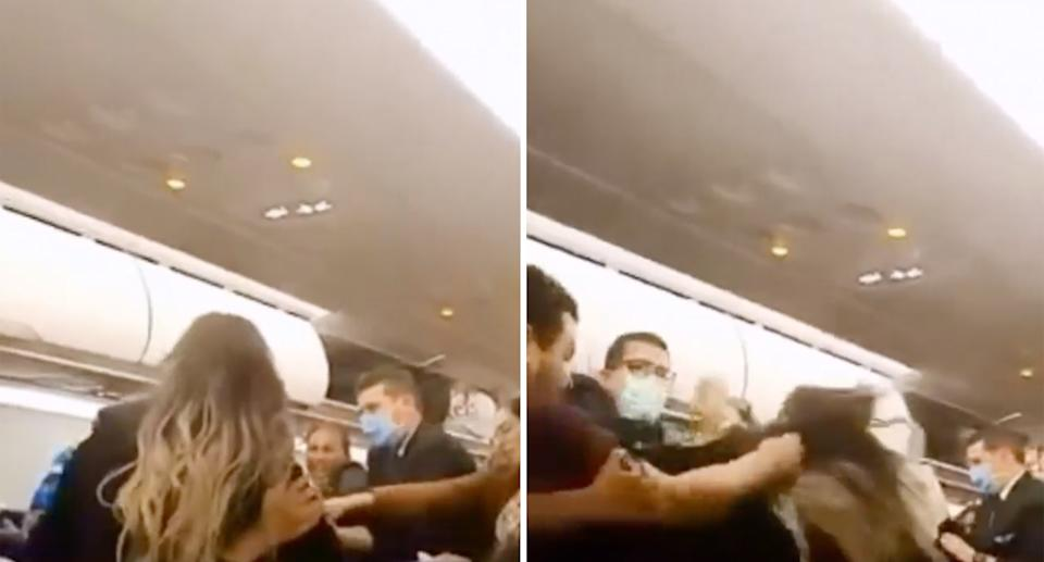 Two photos show passengers fighting on the plane.