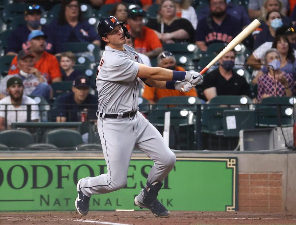 Detroit Tigers catcher Grayson Greiner (17) hits a home run during the second inning against the Houston Astros April 12, 2021 at Minute Maid Park.